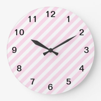 White and Light Pink Stripes. Large Clock