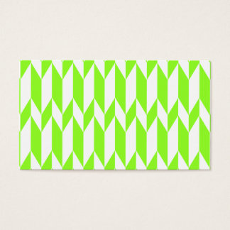 White and Lime Green Abstract Graphic Pattern. Business Card
