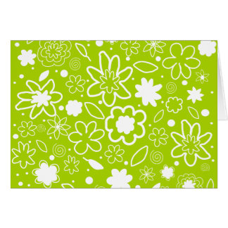 White and Lime Green Floral Pattern Card