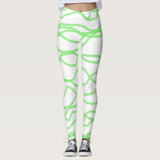 White and Lime Green Squiggly Abstract Leggings