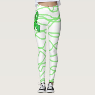 White and Lime Green Squiggly Lyme Leggings