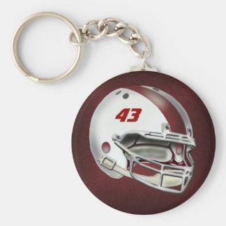 White and Maroon Football Helmet Basic Round Button Keychain