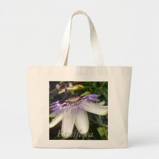 White and Mauve Passion Flower Large Tote Bag
