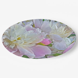 WHITE AND MAUVE-PINK PEONIES/PAPER PLATES 9 INCH PAPER PLATE