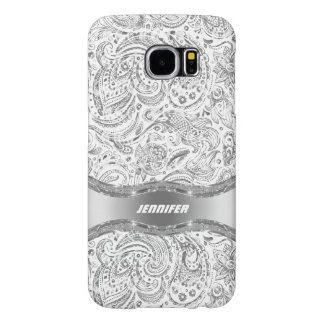 White And Metallic Silver Floral Paisley Samsung Galaxy S6 Cases