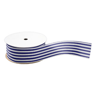 White and Midnight Blue Stripe Grosgrain Ribbon