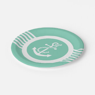 White And Mint Nautical Anchor & Stripes Paper Plate
