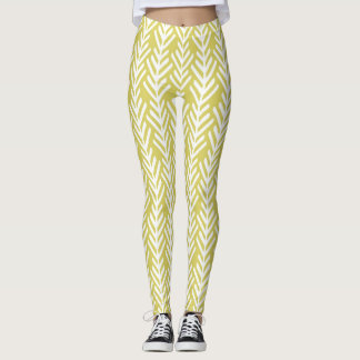 White and Mustard Yellow Womens Print Leggings