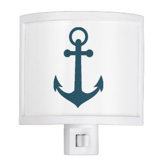 White and Navy Blue Anchor Night Light
