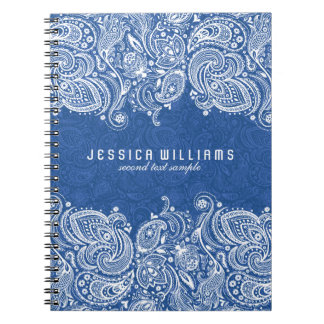 White And Navy Blue Floral Paisley Lace Spiral Note Books
