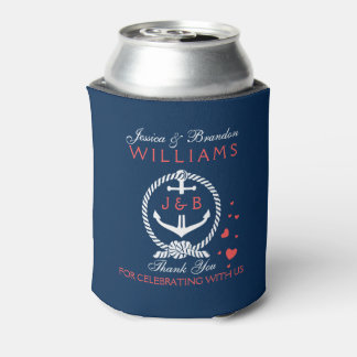 White And Navy Blue Nautical Anchor Can Cooler