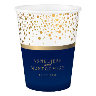 White and Navy Blue with Gold Confetti Dots Paper Cup