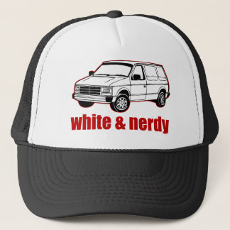 white and nerdy trucker hat
