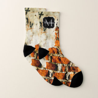 White and orange Broken brick wall Monogram Socks