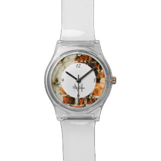 White and orange Broken brick wall Monogram Watch