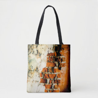 White and orange Broken brick wall Tote Bag