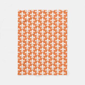 White and Orange Fleur de Lis Pattern Fleece Blanket