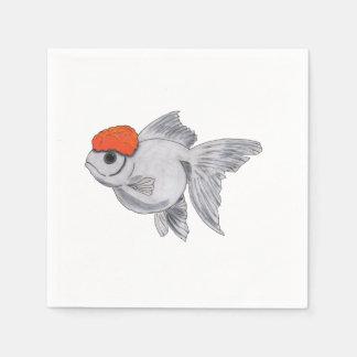 White and Orange Oranda Goldfish Aquarium Pet Fish Disposable Napkins