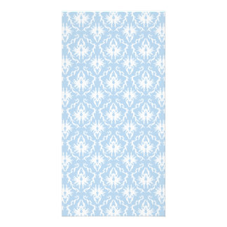 White and Pale Blue Damask Design. Photo Cards