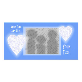 White and Pale Blue Heart. Patterned Heart Design. Photo Cards