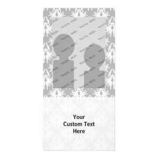 White and Pale Gray Damask Pattern Photo Card