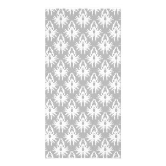 White and Pale Gray Damask Pattern Personalized Photo Card