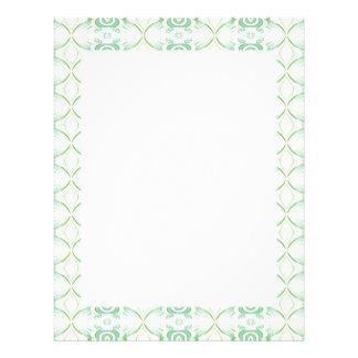 White and Pale Green Flower Pattern. Custom Letterhead