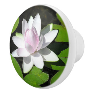WHITE AND PALE-PINK LOTUS BLOSSOM WITH LILY PADS CERAMIC KNOB