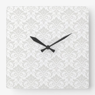 White and Pale Taupe Damask Shabby Chic Square Wall Clock
