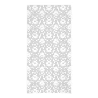 White and Pastel Gray Damask Design. Picture Card