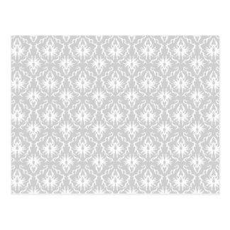 White and Pastel Gray Damask Design. Postcard
