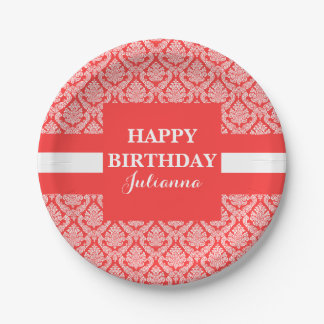 White and Peach Damask Birthday Custom Name Paper Plate