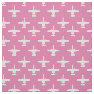 White and Pink A-10 Warthog Attack Jet Pattern Fabric