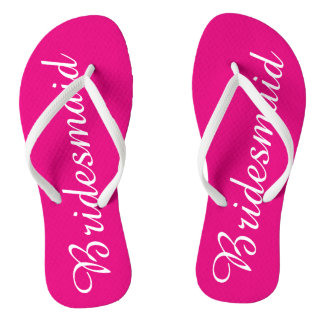 White and Pink Bridesmaid Flip Flops