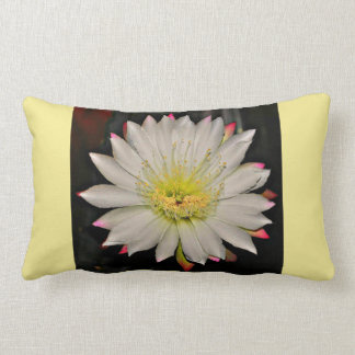 White and Pink Cactus Bloom on Yellow Lumbar Pillow