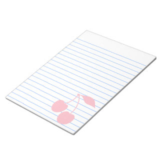 White and Pink Cherries Shape Notepad
