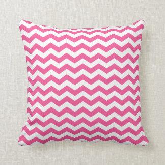 White and Pink Chevron Throw Pillow