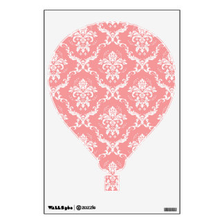 White and Pink Floral Damask Hot Air Balloon Wall Sticker