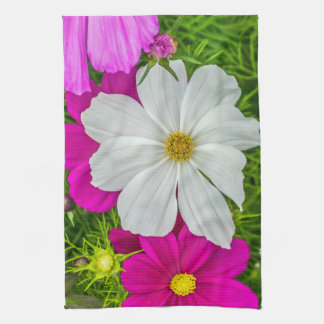 White and pink flowers kitchen towel