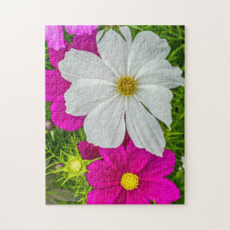 White and pink flowers photo puzzle