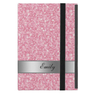White And Pink Glitter Silver Accents iPad Mini Case