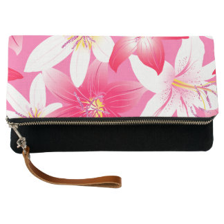White and pink hibiscus floral clutch