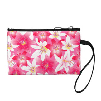 White and pink hibiscus floral coin purse