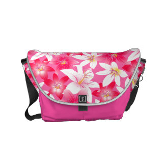 White and pink hibiscus floral commuter bag