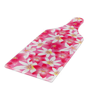 White and pink hibiscus floral cutting board