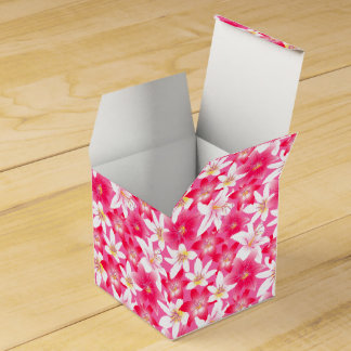 White and pink hibiscus floral favor box