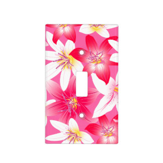 White and pink hibiscus floral light switch cover