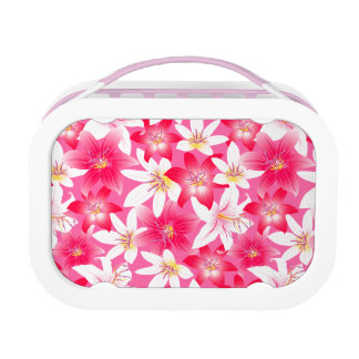 White and pink hibiscus floral lunch box