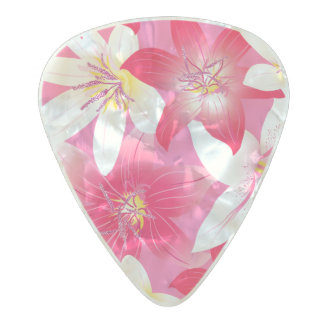 White and pink hibiscus floral pearl celluloid guitar pick