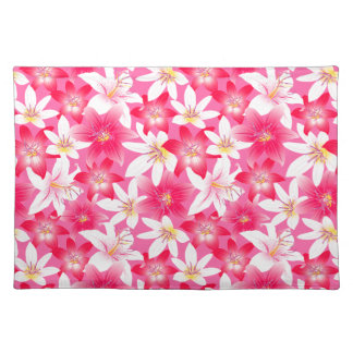 White and pink hibiscus floral placemat